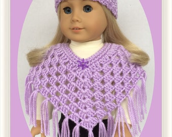 Doll Clothes Made To Fit American Girl, Crochet 2 Pc Poncho and Hat Set, Lavender, 18 Inch Handmade
