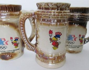 Three Vintage LA Olympic Games Beer Stein Mugs 1984 Los Angeles  23rd Olympiad Porcelain Memorabilia Coffee Cup Party Barware