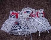 New England Patriots Football Wedding Bridal Garter Regular/Plus Size