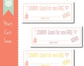 LAST MINUTE Printable Valetine's Day Coupon Set - Three designs - Print, Cut, Love - INSTANT Download