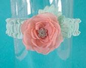 Wedding Garter, mint, coral Wedding Garter, A121 - flower Bridal garter Accessories