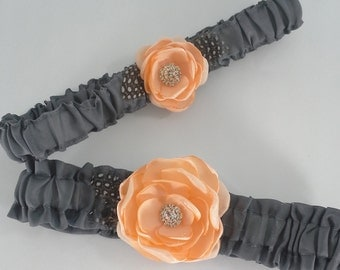 Peach and Gray Rose Wedding Garter Set L276- bridal garter accessory