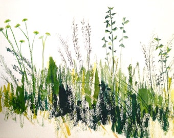 vintage painting - meadow grass watercolor painting - minimalist art