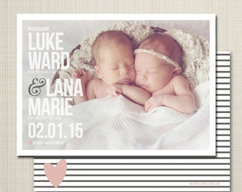 twin birth announcement - twins baby birth announcement - modern twin announcement - photo birth announcement - bold.