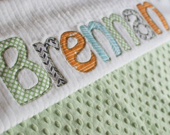 Monogrammed Baby Blanket in MARKET, Light Green Dot Minky & White Chenille, Personalized with Your Baby Boy's First Name in Designer Fabrics