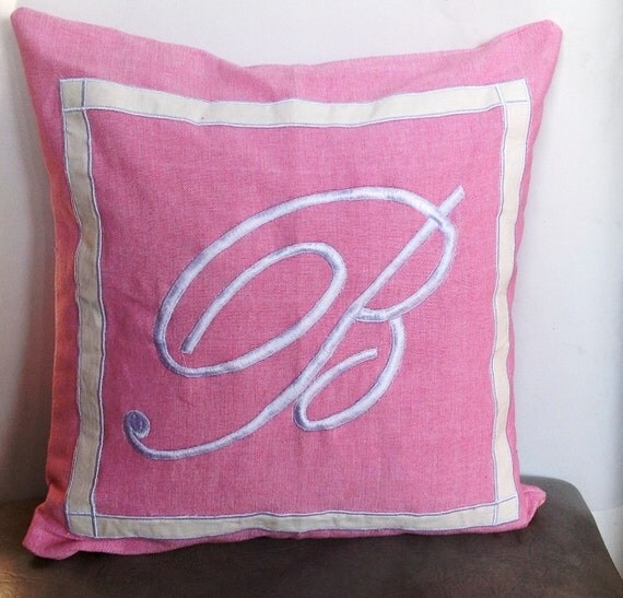 Personalized Embroidered Throw Pillows : 30% OFF Pink Monogrammed embroidered pillow Cover Pink Throw