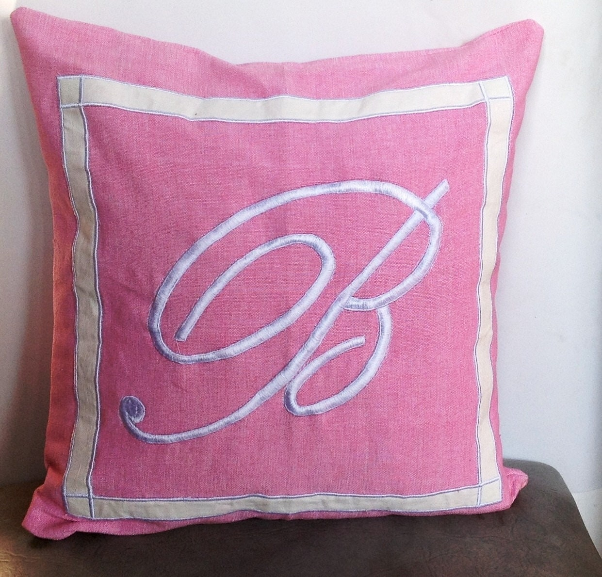 30% OFF Pink Monogrammed embroidered pillow Cover Pink Throw