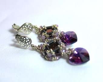 Hand Beaded earrings with Swarovski  Hearts, Chatons and Round Crystals accented with Sterling silver plated seed beads