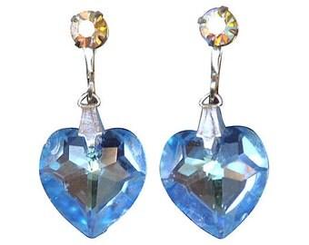 Periwinkle Crystal Heart Earrings
