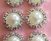 """New- SMALL PEARL with RHINESTONE Button Flat back-6 count-1/2"""" wide"""