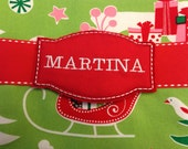 Embroidered Name Tag Stocking Marker Pin Broach