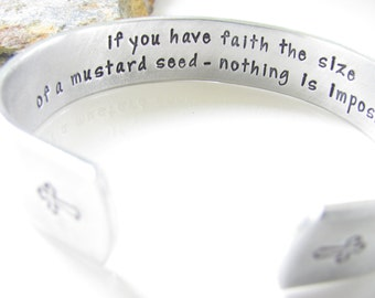 Cuff Bracelet, Hand Stamped, Religious Quote...Aluminum (For Your Eyes Only - Design) - Faith the Size of a Mustard Seed