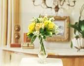 Yellow Roses Arrangement Flowers Glass Vase 1:12 Dollhouse Miniature Artisan