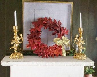 Autumn Wreath Red Leaf Fall Orange 1:12 Dollhouse Miniature Artisan