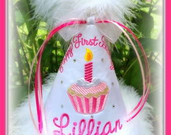 Boutique Quality, Cupcake Birthday Hat, You Choose Colors,   by GINGHAM BUNNY EMBROIDERY