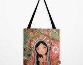 Madonna of the Flowers - Tote Bag  (13 x 13 inches) by FLOR LARIOS