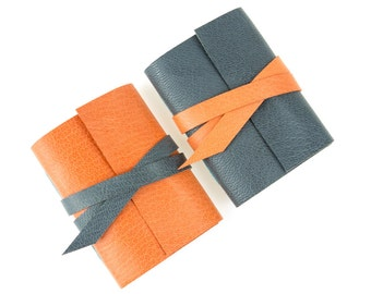 Mini Journal: Peach and Gray leather hand made notebook. A popular little gift for Mother's & Father's Day, ships now worldwide.