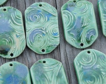 Pottery Bracelet Bead, The Carmine Bead in Lily Pad
