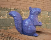 Ceramic Squirrel, Standing, Purple, Indoor/Outdoor Art Sculpture, Garden Ornament, Woodland Gift