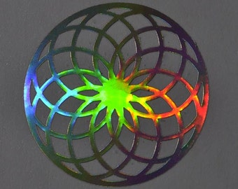 Torus sacred geometry shimmer chrome vinyl decal