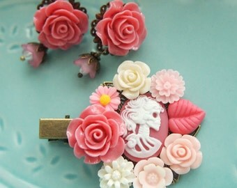 Pink Skeletina Skull Lady Clip and Dangle Studs Set