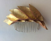 Metallic Gold Petal leather hair comb