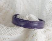 Leather Cuff Snap Bracelet Plum