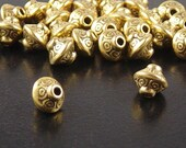 CLEARANCE Bead Spacer 30 Antique Gold Color Bicone 7mm x 6mm (1105spa07d1)os