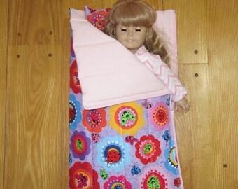 American Girl Doll size Sleeping Bag and Pillow Back Yard Bugs