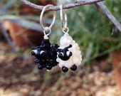 Black and White Sheep Charms Set of 2 for my interchangeable earrings or stitch markers