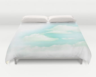 "Duvet Cover Made to Order ""No Limit"" Decorative bedding unique design modern comforter bedroom blanket happy nature light cloud blue sky"