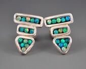 Triangle Arrow Mosaic Blue Black Lab Opal Mother-of-Pearl Sterling Silver Stud Post Wite Drop Dangle Earrings
