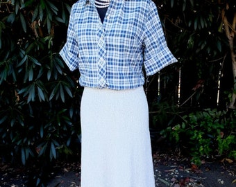 Vintage 70s Poly Knit A-Line Skirt in Gray