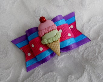"""Dog Bow- 7/8"""" Double Scoops in Lavender"""