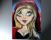 5x7 Little Red Riding Hood Original Artwork On Canvas Panel Mini Red