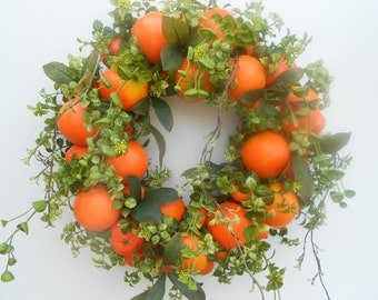 Orange Wreath with Boxwood....Citrus Wreath...Door Wreath.....Spring/Summer Wreath