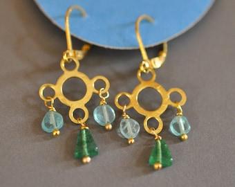Apatite and Green Adventurine Cloud and Rain Dangle Earrings