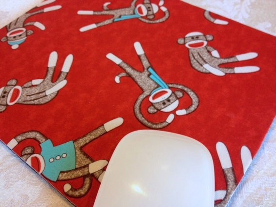 Buy 2 FREE SHIPPING Special!!   Mouse Pad, Computer Mouse Pad, Fabric Mousepad   Sock Monkeys
