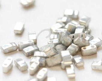 10 Grams Japanese Miyuki Tila Half Cut Beads-Gray Terra Opaque AB (HTL1865)