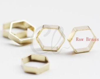 60pcs Raw Brass Hexagon Frame - Link 8x2.2mm (3013C-F-593)