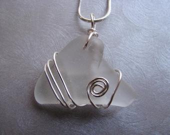 Sea Glass Pendant - Sea Glass - White Sea Glass - Unique Wire Wrap
