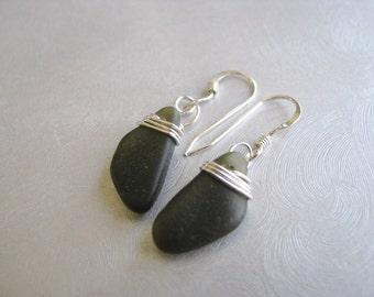 Sea Glass Earrings - Dark Olive Green - Sterling Silver - Wire Wrapped - Dangle Earrings