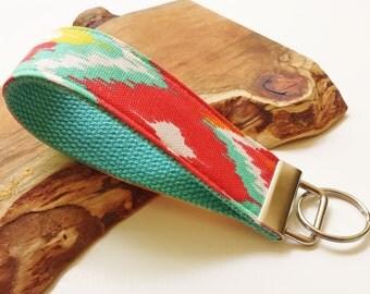 Wrist Key Chain - Key Fob Wristlet Keychain - Fabric Fob - Sunny Side Up