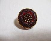 18mm Bohemian Czech Glass Button Flower motif, Red Garnet - B/048