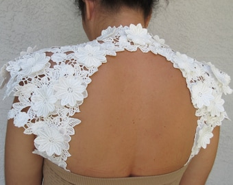 Beautiful Wedding Bridal Off White Applique Detachable Straps Lace Flowers Keyhole Back Made to order.