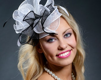 Black and white fascinator hat for weddings, Derby, Ascot, parties-New hat in my S/S 2015 collection!