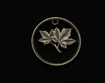 Canada - cut coin pendant - Maple Leaves - 1943