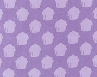 One (1) Yard- Baked with Love Cupcake by Robert Kaufman Fabrics AMF-14420-6 PURPLE