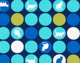Two (2) Yard- Sitting Pretty Cats by Robert Kaufman Fabrics AWN-14177-59 OCEAN