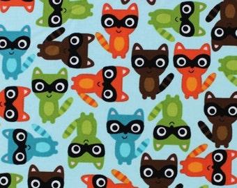 One (1) Yard -Woodland Pals Raccoon Fabric Blue Robert Kaufman AAK-13767-237 BERMUDA